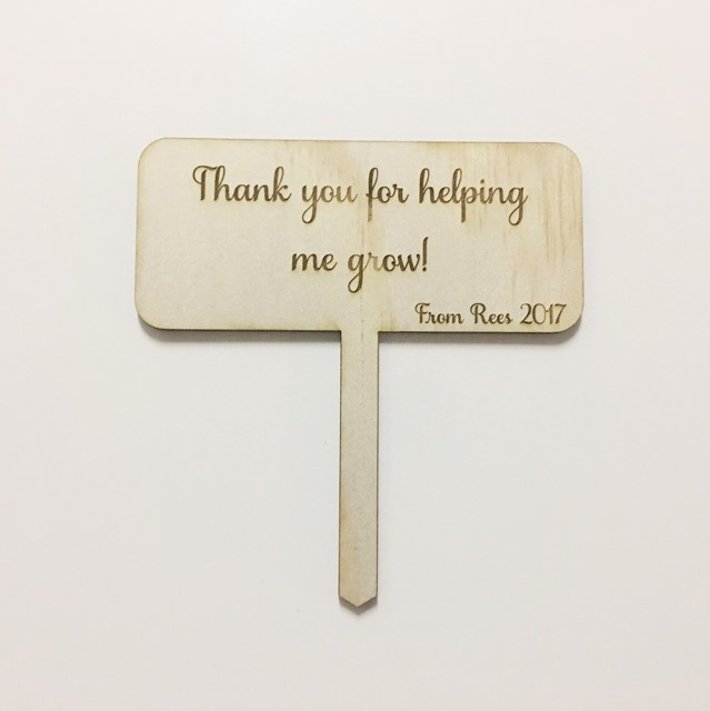 Thank You For Helping Me Grow | Garden Stake | Teachers Gift